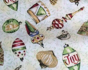 Half yard-Vintage Christmas by  Barb Tourtillotte for Clothworks-Vintage Xmas Glass prints-Cream Background