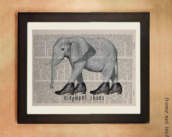 Elephant Dictionary Art Print, Whimsical Elephant with Shoes Wildlife Animal Wall Art Decor Fine Vintage da458