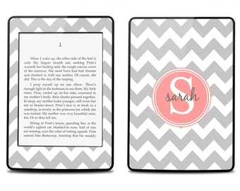 Gray Chevron Pink Peach Monogram  - Kindle 2014 / Fire HD 8.9 / 2012 / Fire / Paperwhite / Touch / 4 / Keyboard Decal Skin Cover