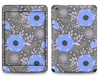 Gray Blue Purple Flower Pattern - Apple iPad Air 2, iPad Air 1, iPad 2, iPad 3, iPad 4, and iPad Mini Decal Skin Cover