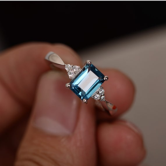 London Blue Topaz Ring Emerald Cut Gemstone Ring Sterling