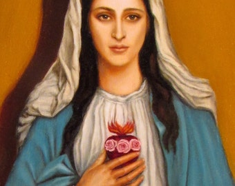 Immaculate Heart of Mary 8 x 10 Canvas on Masonite