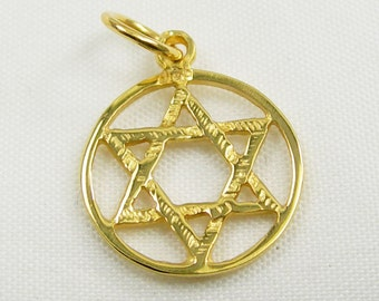 Yellow Gold Circle Star Of David Symbol Charm Pendant, Available In 375 9ct 9k or 750 18ct 18k Yellow Gold - C2009