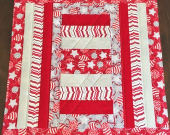 24 in. or 30 in. square table topper. Self bound. Can be made for any occasion.