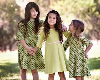 Girls dress, childrens clothing, girls clothing,  green dress