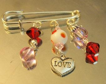 Dangles Love Pin - Brooch - handmade in the U.S.