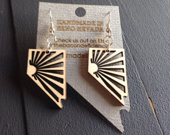 Beautiful wooden Nevada earrings made from Baltic Birch