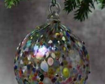 Hand blown Glass Bumpy Round Ornament