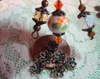 40 Littlest Dark Bronze Flower Caps. 6.5mm. Cast Metal. Darling Open Rope Petals Design. New Stock! ~Ships From Oregon