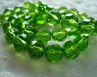 "Promotion! Green Faceted FirePolished Glass Rounds. 8mm. 40pc, Full 12 "" Strands  ~USPS Standard Ship Rates from Oregon"