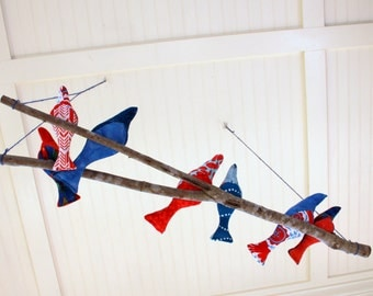 CLOSEOUT - 7 Birds on a Branch Mobile, red and blue fabric birds cozied up on a branch - porch, sunroom, home decor, woodland nursery decor