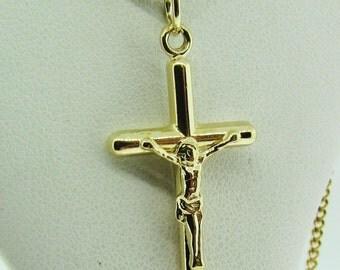 Vintage 14 K gold crucifix charm pendant.