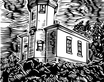 Lighthouse - Linoleum Block Print - 12x9