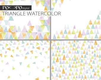 Triangle digital paper watercolor scrapbook pattern geometric invite card making invitation wedding party supplies hand painting watercolour