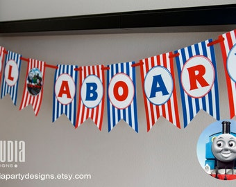 All Aboard Party Banner, Thomas Birthday Banner, Train Birthday Party