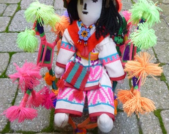Vintage Huichol Doll Folk Art Made in Mexico Traditional Huichol Indian Costume