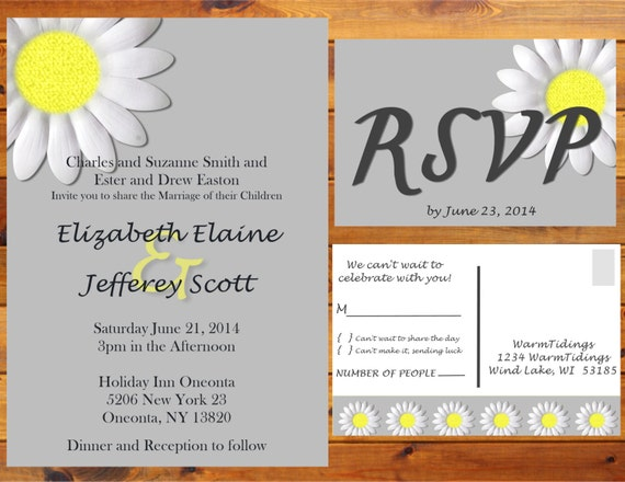 Printable Daisy Wedding Invitation - Grey, White, yellow