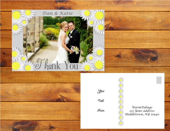 Daisy Photo Thank You Postcard - Grey, White, yellow