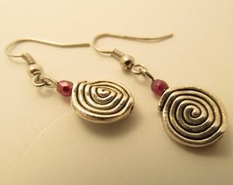 3922 - Czech Glass and Bronze Spiral Earrings