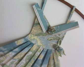 vintage map origami paper dress