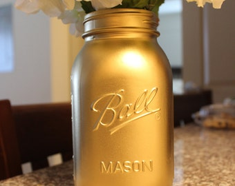 Gold Mason Jar (Quart Sized)