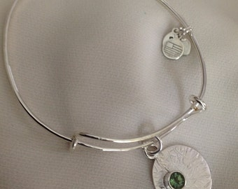 Sterling adjustable bangle  with green apatite gemstone
