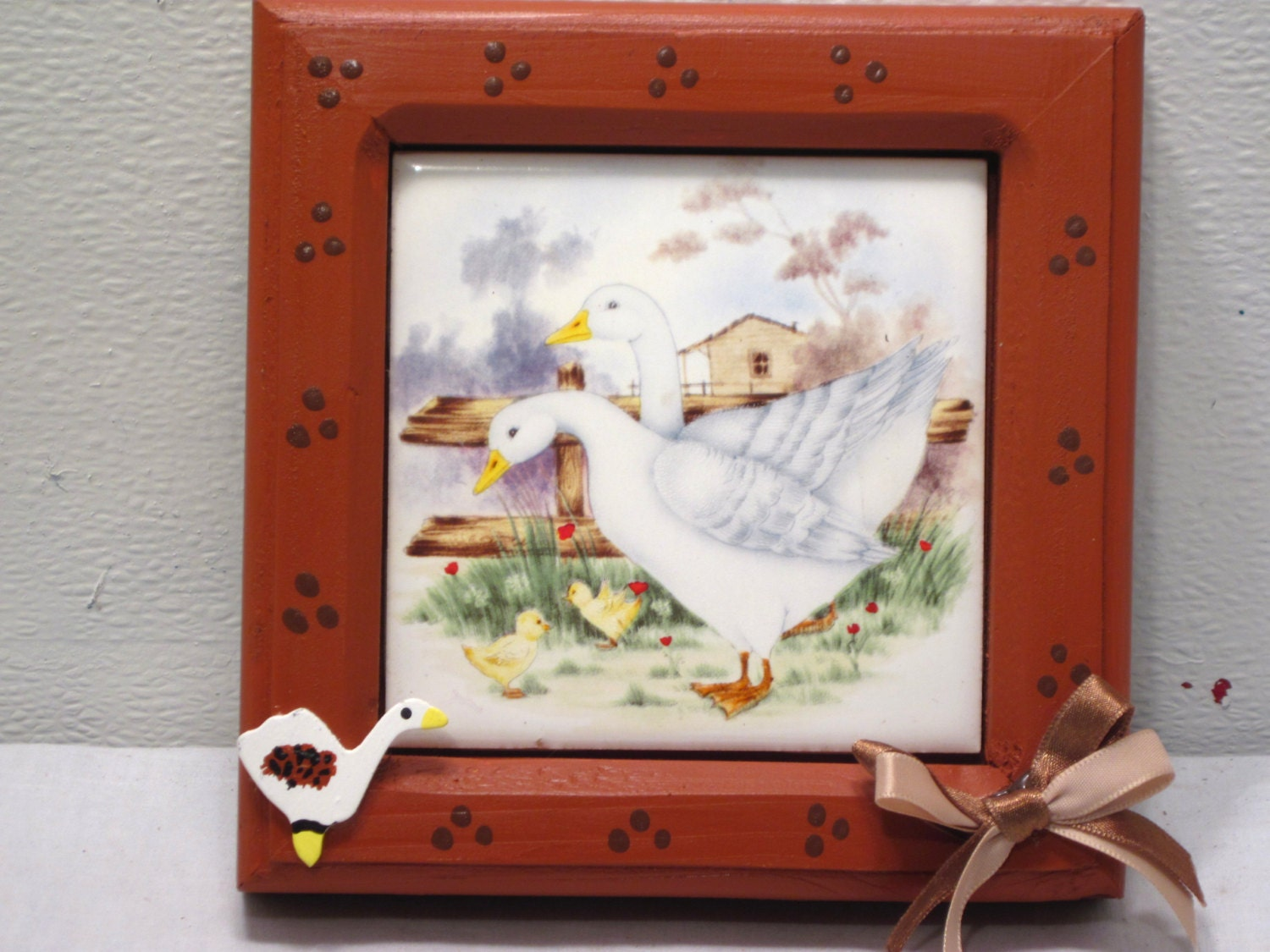 Ceramic country farm duck tile kitchen d cor home art for Duck decorations home