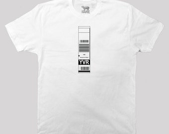 YVR – Vancouver Airport Code Baggage Tag - screen printed t-shirt - available in s, m, l, xl and 2xl
