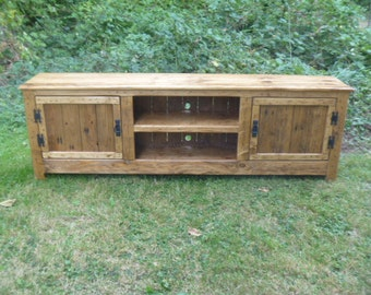 "70"" Rustic Pallet TV stand cabinet , Sideboard, reclaimed wood, shabby chic, media stand, credenza stand"