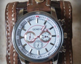 Leather Wrist, Genuine crocodile,  Rockstar,  wrist watch, man watch, bracelet watch, wrist watch, man gift, Brown