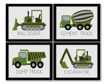 INSTANT DOWNLOAD, Construction Vehicles, Set of 4, Dump Truck, Excavator, Bulldozer, Cement Truck, Trucks Art, Construction Room, Boys Room