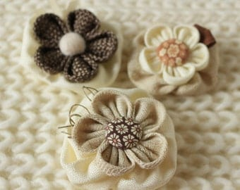 Brown Fabric Flowers Brooches Set, Fabric Brooch, Handmade Woman Brooch, Floral Brooch,Kanzashi