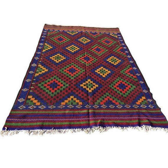 Red Blue Green Yellow Turkish Kilim Rug Antique By