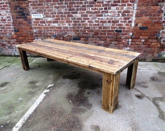 Reclaimed Industrial Chic 10 12 Seater Solid Wood Dining Table Bar Cafe  Restaurant Furniture Steel