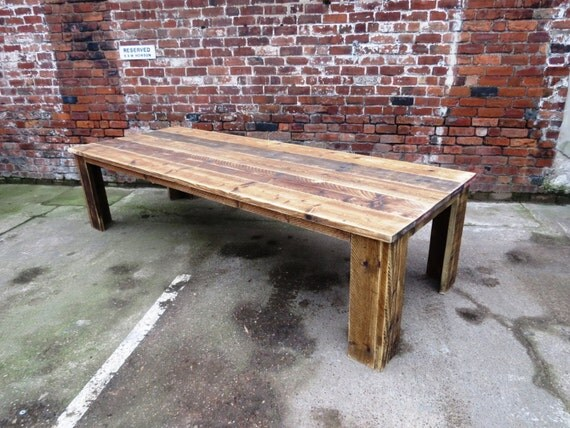 Reclaimed industrial chic 10 12 seater dining table bar cafe for 10 12 seater dining table