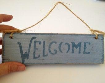 Vintage Wood Sign, Welcome, Door Sign