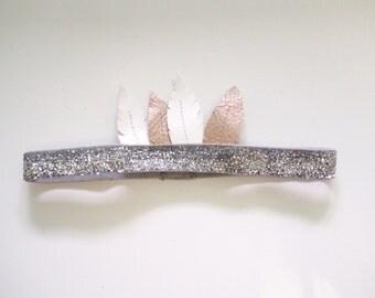 Bohemian Feather Headband- Silver