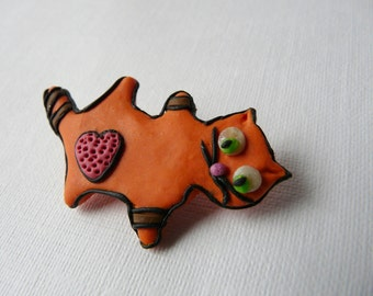Orange Cat Brooch, Animal Brooch, Cat Pin, Wearable Art Brooch, Cute Cat Jewelry Brooch, Valentines Brooch