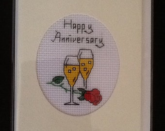 Lovely Handmade Cross Stitch Anniversary Card