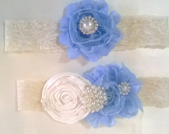Beautiful set of League League wedding garters set bridal vintage crystals and pearls wedding!
