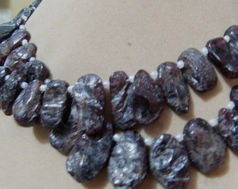 2 Strands  Garnet Rough Front side rough back side smooth   Layout   beads  7''