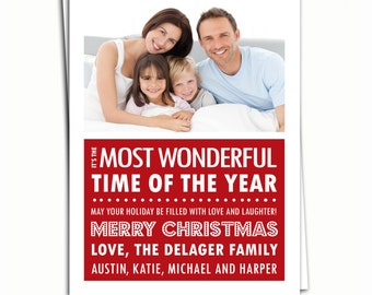 Holiday Photo Card - Christmas Photo Card - Most Wonderful Time of the Year - Holiday Printable -