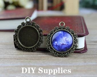 4pcs Antique Bronze Cameo Pendant Necklace - DiY Pendant Necklace Base - 20mm Setting Blanks