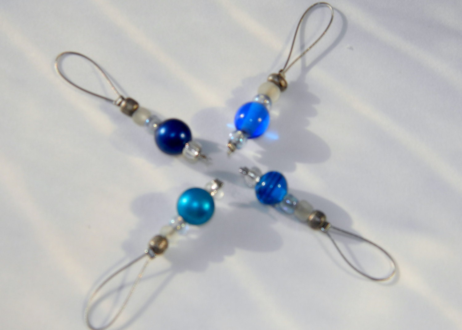 Beaded Knit Stitch Marker Pattern : Glass beaded Stitch markers for knitting by 2VintageCrafters