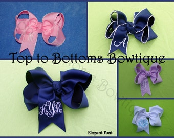 Monogrammed twisted boutique bow (multiple sizes available)
