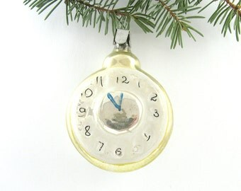 Glass Clock, Rare Soviet Christmas tree decoration, Glass Christmas ornament, New Year, Russian Toy, USSR, Soviet Union, 1960s