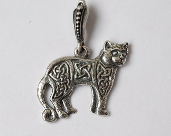 Cat necklace, Cat pendant, Cat jewelry, Celtic cat, Celtic necklace, Norse pendant, Nordic pendant, Celtic jewelry