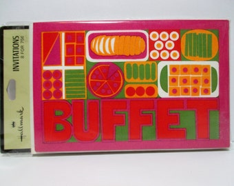 BUFFET Pot Luck Party Invitations ~ Eight Unused Vintage Hallmark Invitations With Envelopes