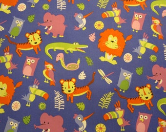 Blue Jungle Animal Cotton Fabric by Michael Miller Out of Print