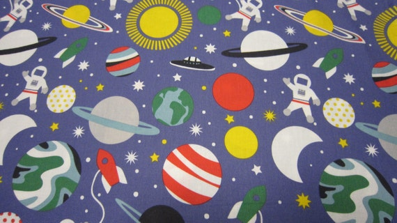Blue astronaut cotton fabric planet buzz series by blend for Fabric planet